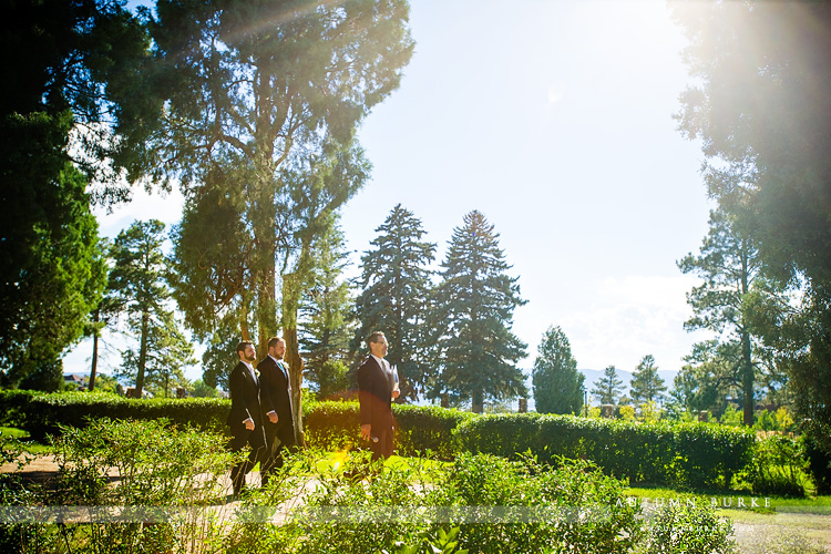 colorado highlands ranch mansion wedding ceremony groom walks down aisle