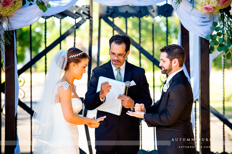 colorado highlands ranch mansion wedding ceremony rock paper scissors