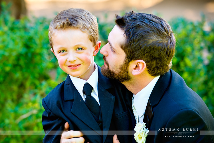 colorado highlands ranch mansion wedding groom with ring bearer