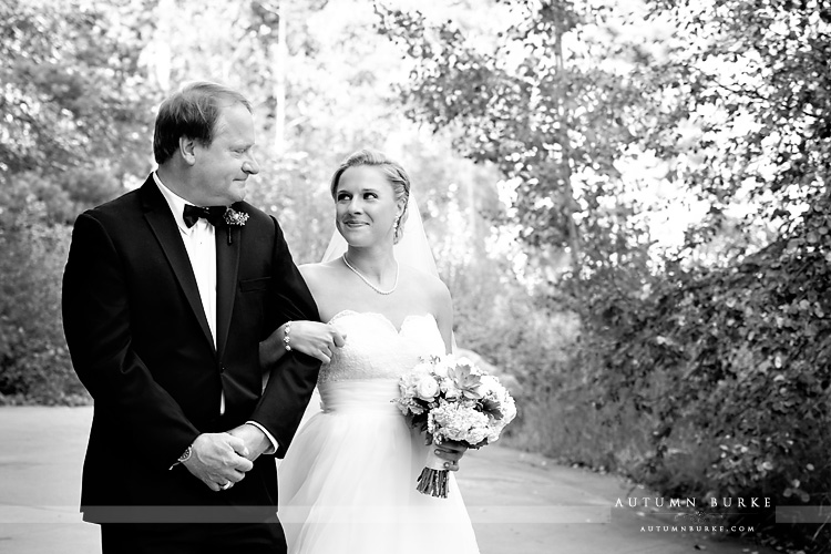dad walks daughter down aisle donovan pavilion vail mountain wedding colorado