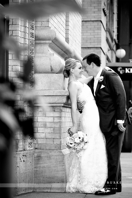 dcpa denver wedding seawell ballroom bride and groom bw first look