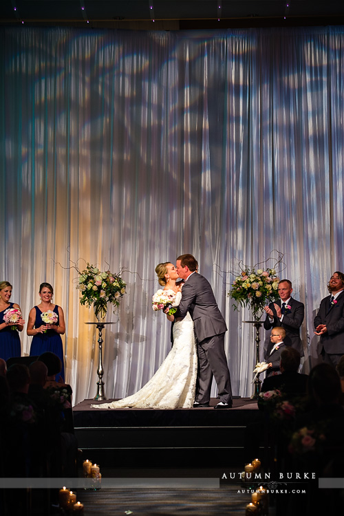 dcpa denver wedding seawell ballroom ceremony colorado bride and groom