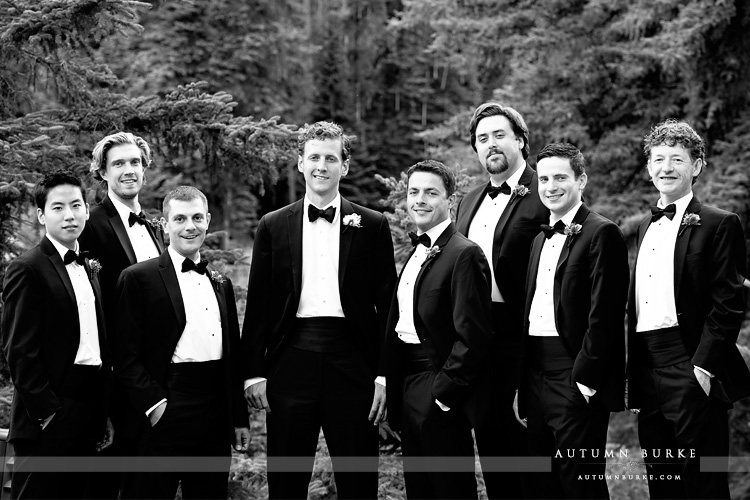 downtown vail colorado mountain wedding groom and groomsmen