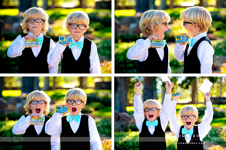 highlands ranch mansion colorado wedding ring bearers with lottery tickets lucky in love series