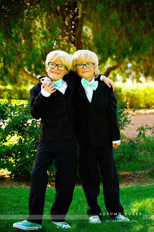 highlands ranch mansion wedding colorado twin boys ring bearers brothers bow ties converse