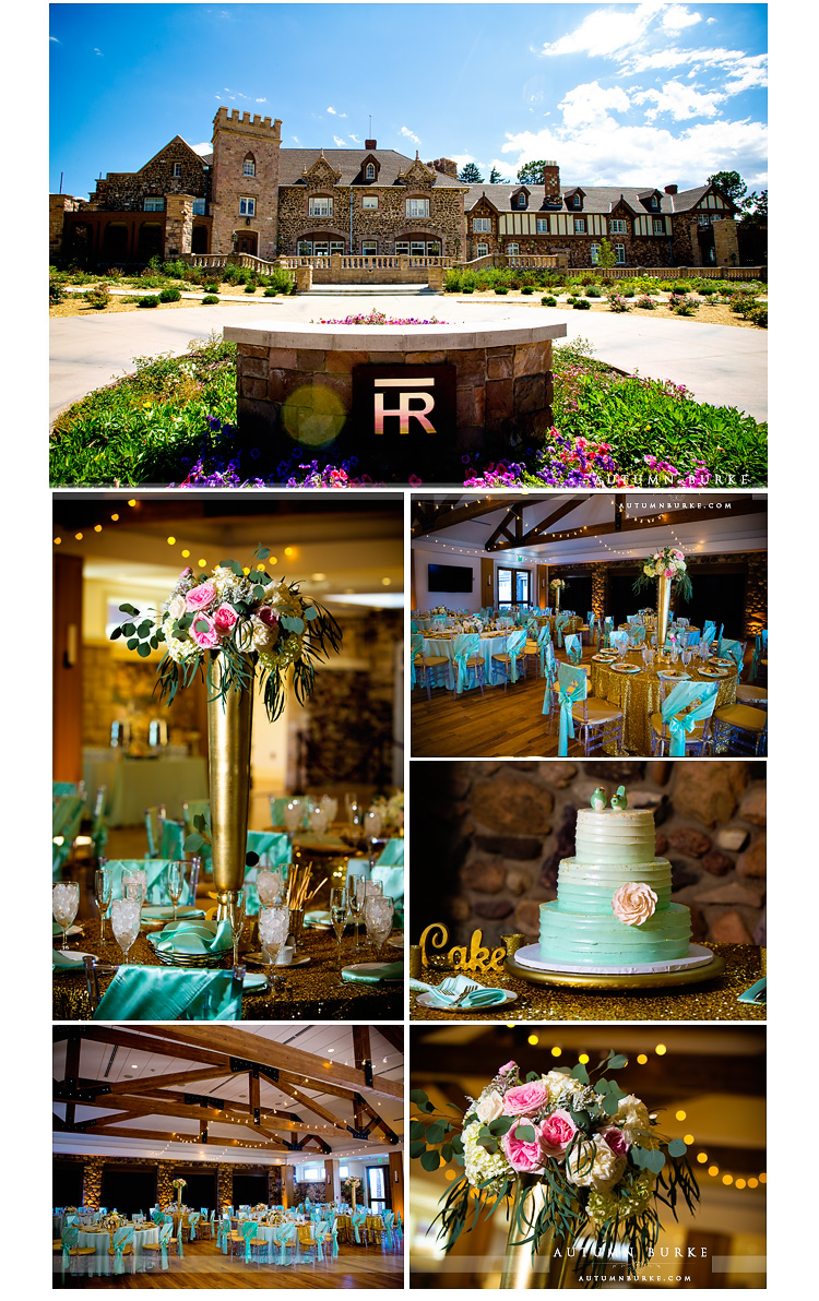 highlands ranch mansion wedding decor glitter ballroom cake centerpieces