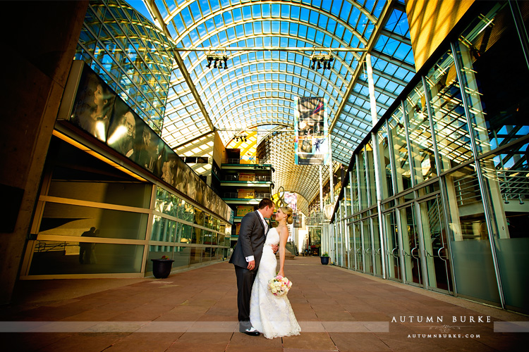 seawell ballroom wedding bride and groom atrium dcpa denver colorado