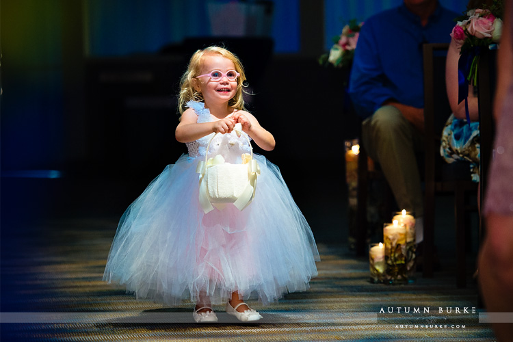 seawell ballroom wedding ceremony flower girl denver colorado