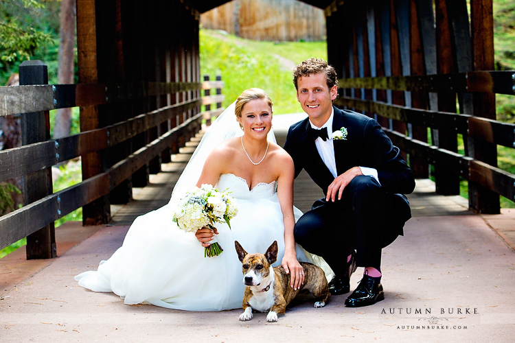 vail colorado mountain wedding bride and groom and dog donovan pavilion