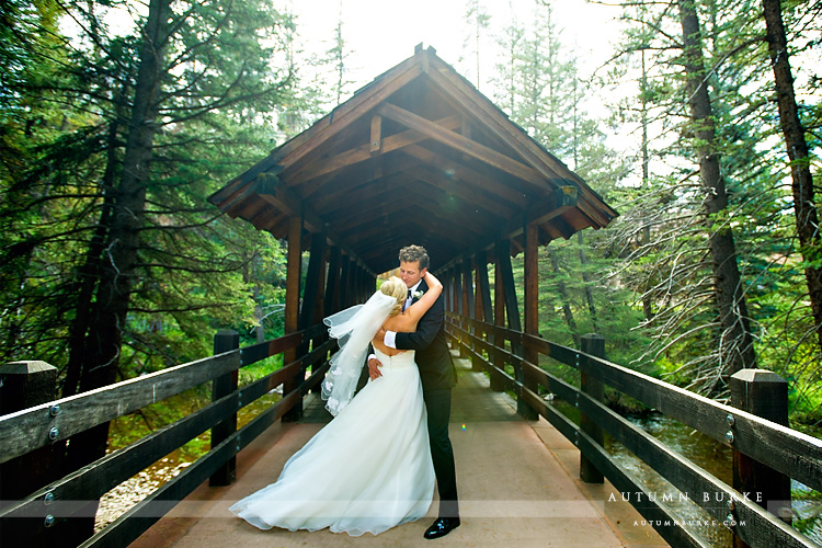 vail wedding donovan pavilion bride and groom first look bridge colorado mountain