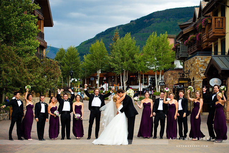 wedding party in downtown vail bride and groom