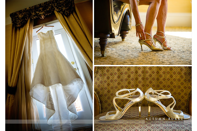 broadmoor wedding bride prep getting ready dress shoes jimmy choo