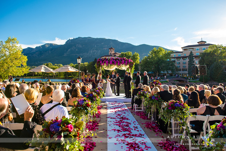broadmoor wedding ceremony lakeside terrace flower arch colorado springs designworks