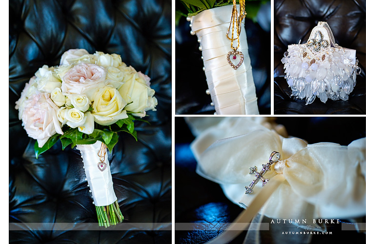 broadmoor wedding details bridal prep getting ready bouquet jewelry