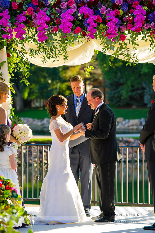 colorado broadmoor wedding ceremony bride and groom ring exchange