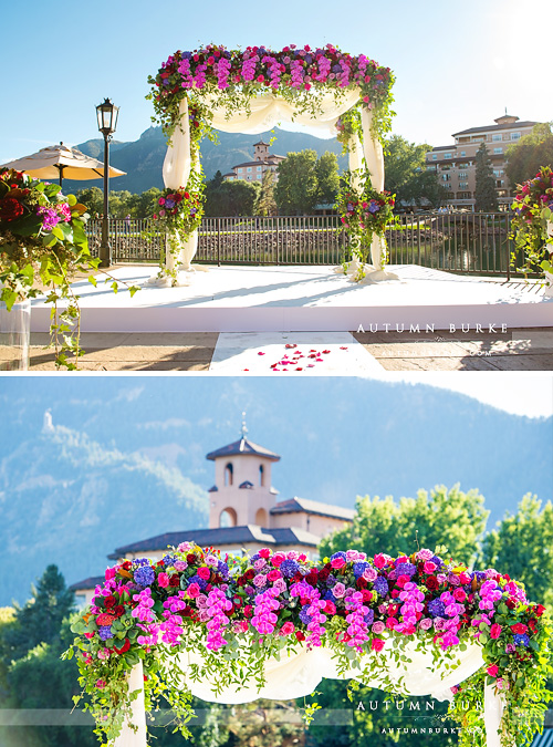 colorado broadmoor wedding ceremony decor flower arch lakeview terrace
