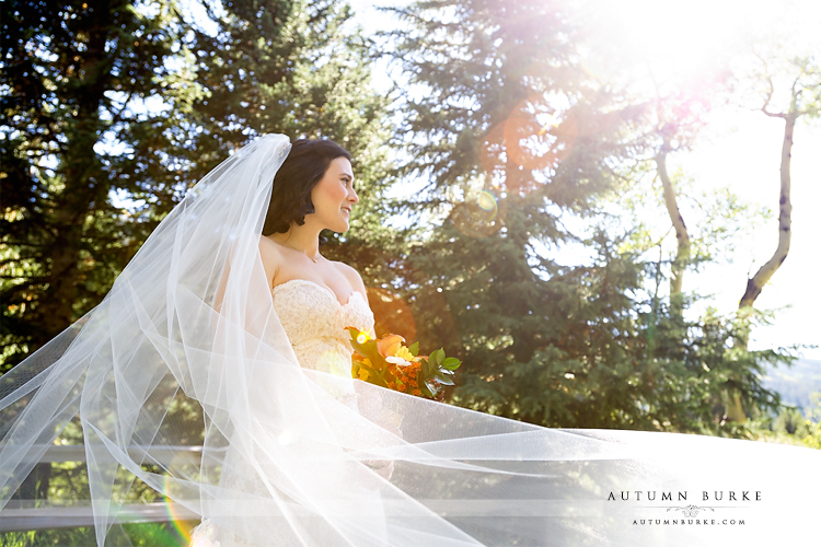 keystone colorado mountain wedding ski tip lodge bride portrait veil