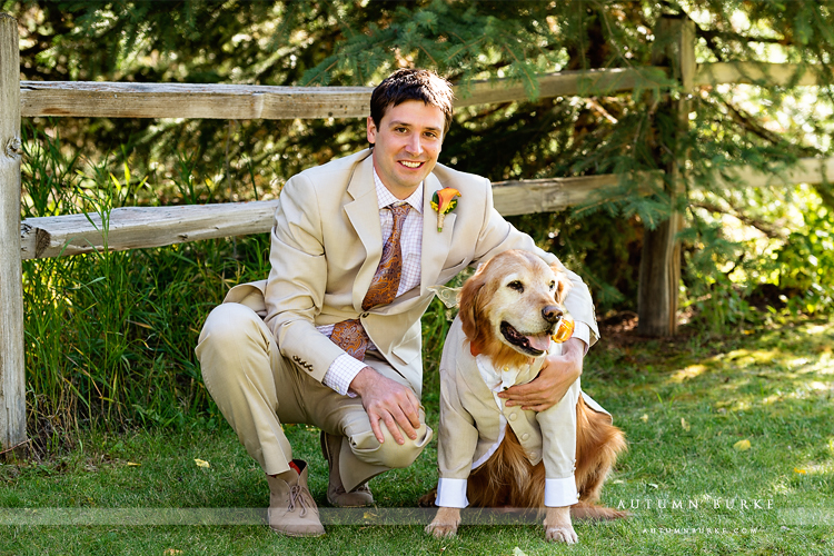 keystone colorado mountain wedding ski tip lodge groom and dog portrait