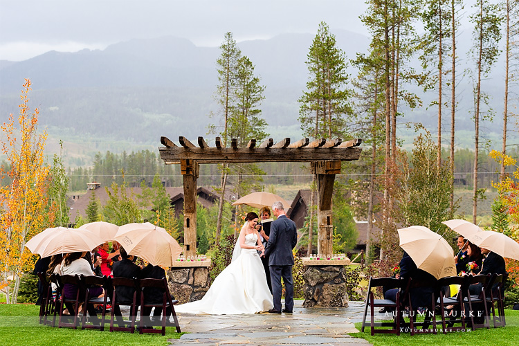 rainy wedding ceremony devils thumb ranch colorado mountain