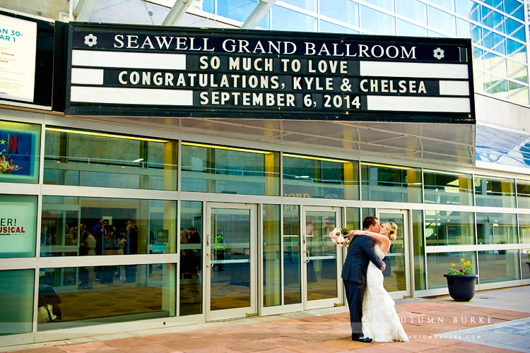 seawell ballroom marquee bride and groom portrait denver dcpa