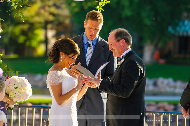 wedding ceremony the broadmoor colorado springs terrace bride and groom wedding vows