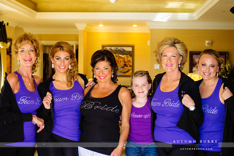 wedding the broadmoor colorado springs bride with bridesmaids team bride shirts monogrammed