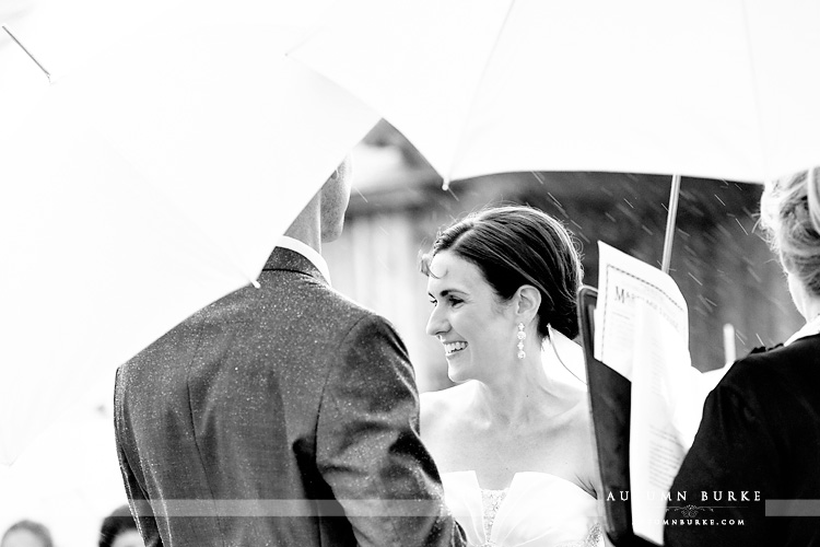 wedding vows devils thumb ranch colorado mountain ceremony rain bw