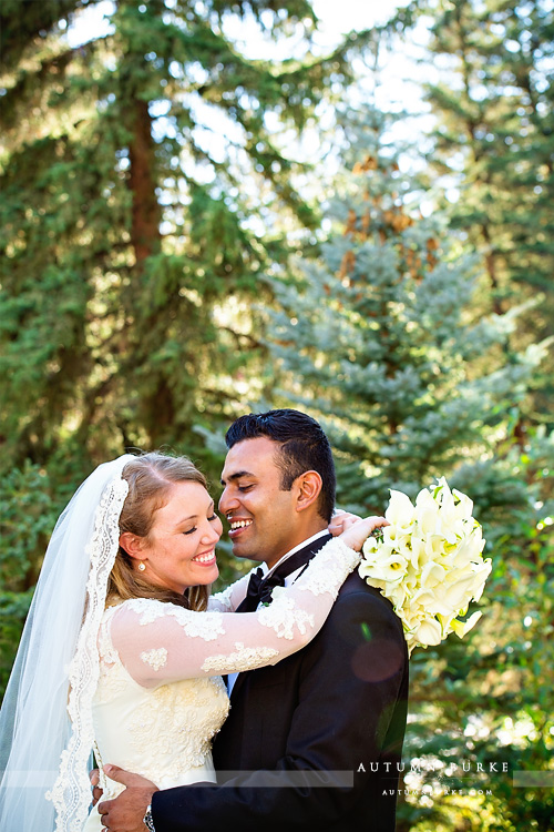 bride and groom portrait vail colorado four seasons wedding vail chapel