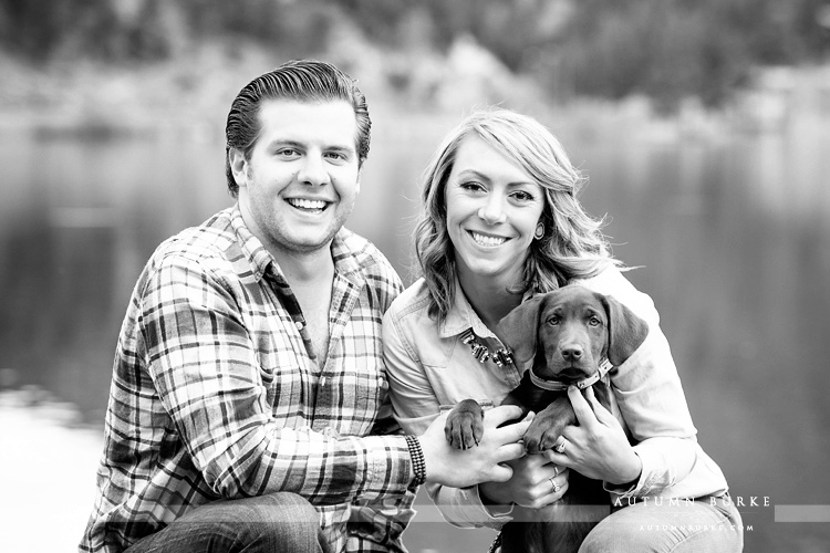 colorado portrait wedding engagement session evergreen lake mountains with puppy bw