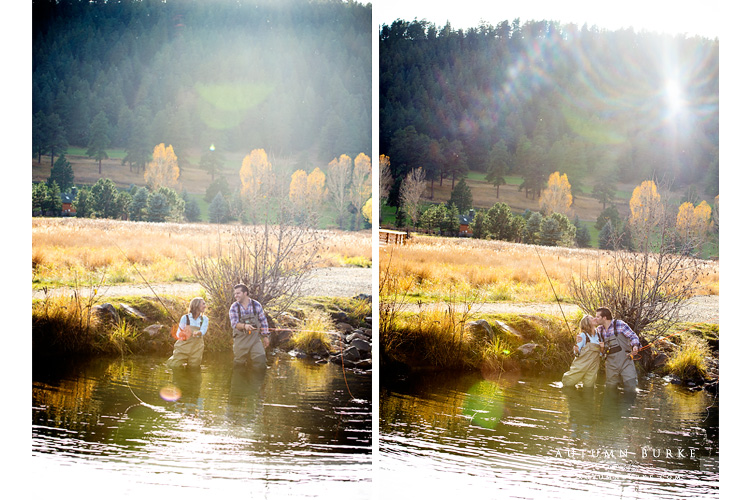 colorado wedding engagement session evergreen fly fishing mountain lake portrait