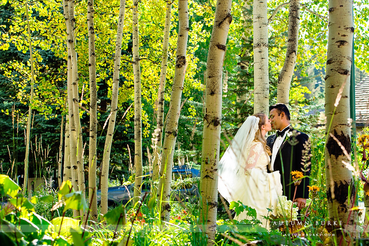 four seasons vail wedding bride and groom portrait aspen trees vail chapel