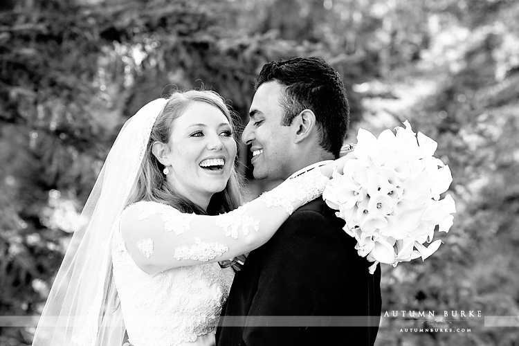 four seasons vail wedding bride and groom portrait joy laughter emotion vail wedding chapel colorado mountains bw