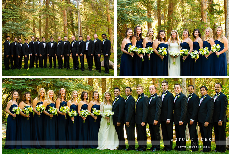 wedding party bridesmaids groomsmen colorado mountain wedding four seasons vail