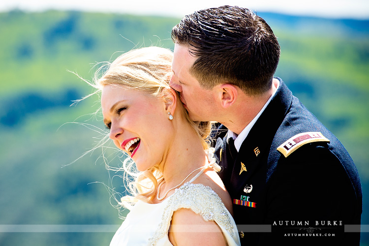 beaver creek colorado mountain wedding westin bride and groom laughter love