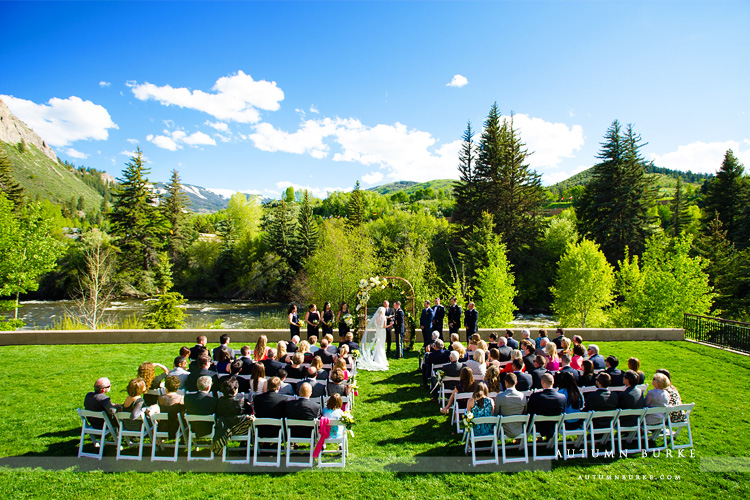 colorado mountain wedding beaver creek westin ceremony by river