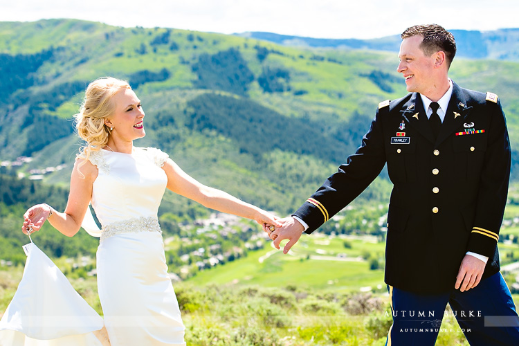 colorado mountain wedding beaver creek westin riverfront first look bride and groom mountaintop
