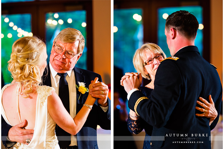 colorado mountain wedding beaver creek westin riverfront parent dances father daughter mother son