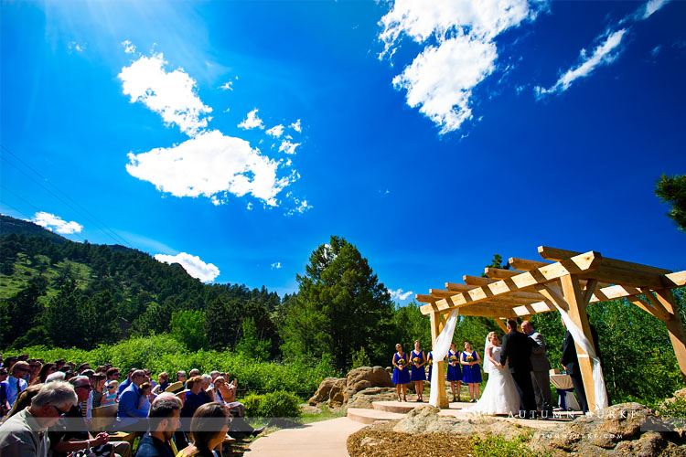estes park tahaara mountain lodge colorado mountain wedding ceremony bluebird skies