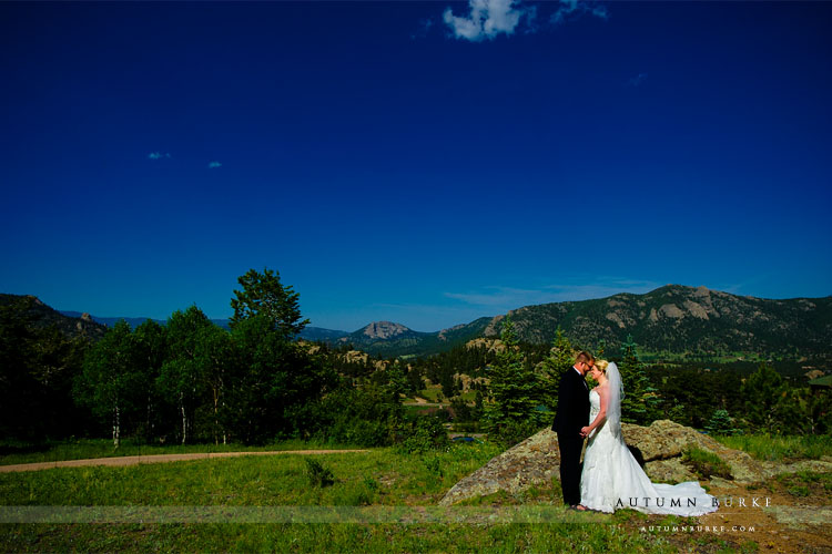 estes park colorado mountain wedding bride and groom
