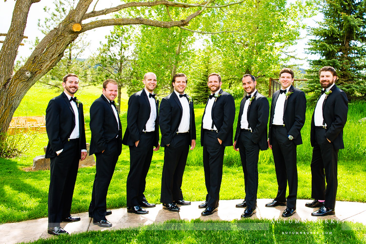 groom and groomsmen spruce mountain ranch colorado wedding