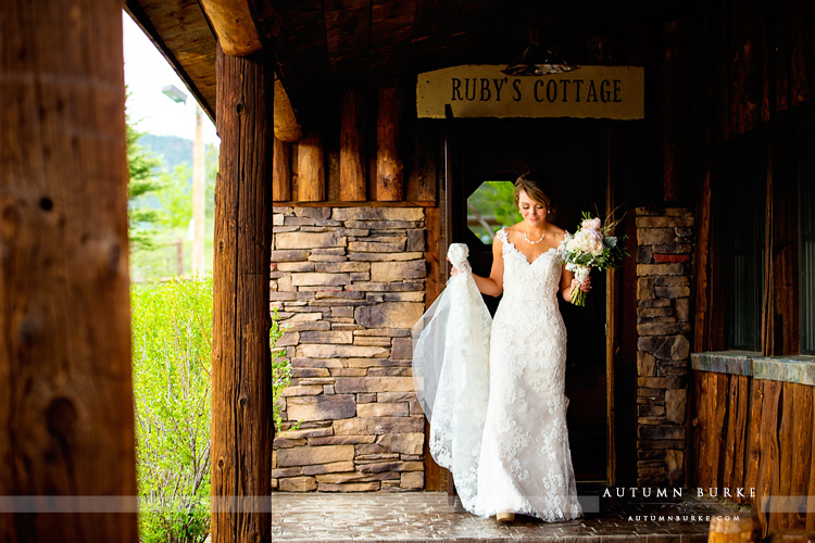 spruce mountain ranch bride on her way to first look with groom colorado wedding rubys cottage