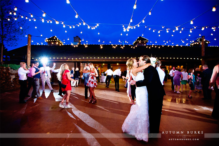spruce mountain ranch wedding reception courtyard dancing market lights