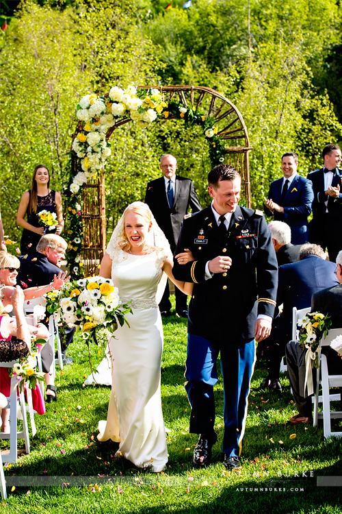 westin wedding colorado mountain beaver creek ceremony bride and groom just married