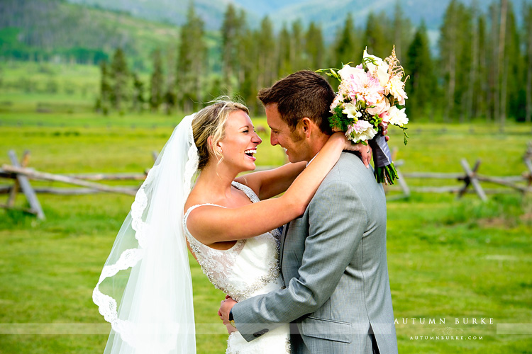 devils thumb ranch colorado mountain wedding bride and groom