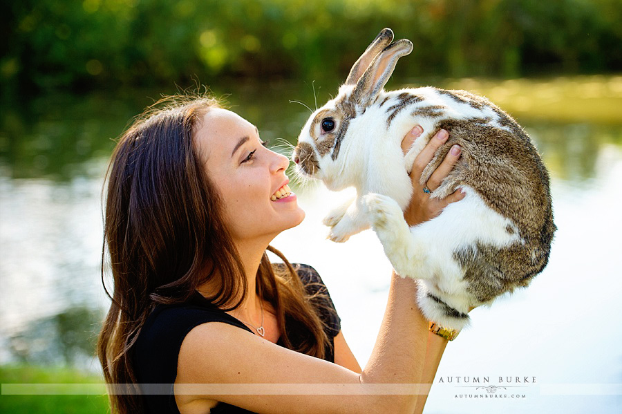 denver high school senior portrait with pet rabbit