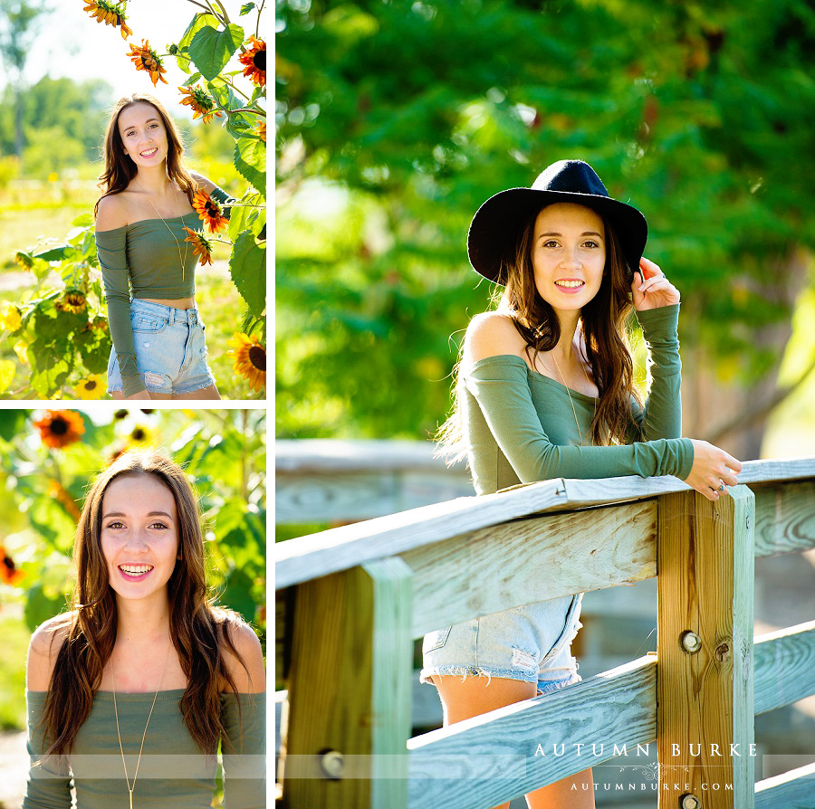 denver high school senior portraits sunflowers bridge outdoors natural fun
