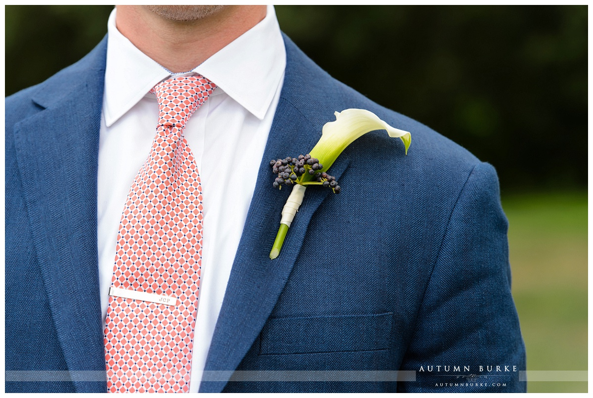 colorado wedding country club cherry creek denver  boutonniere tie groom