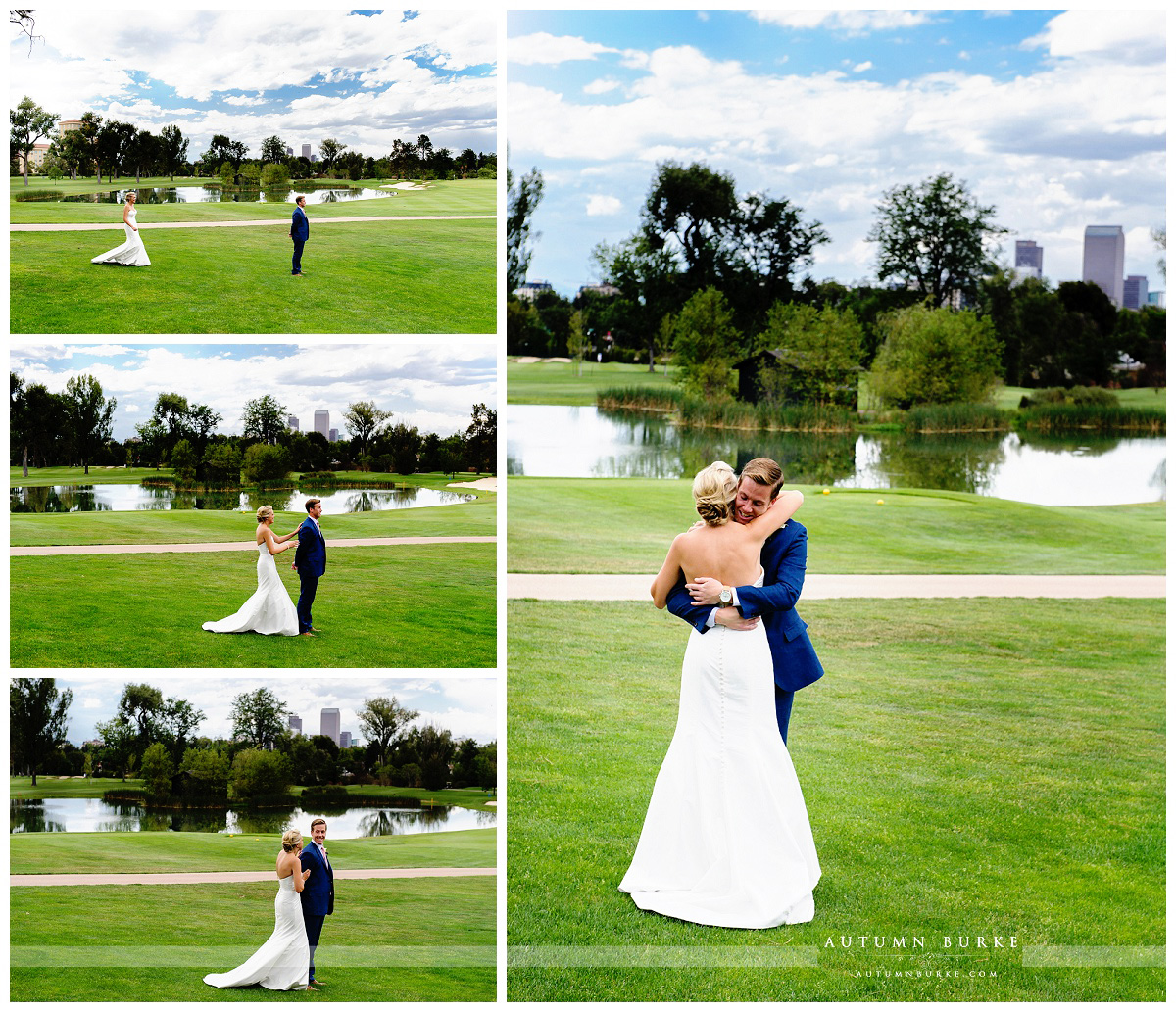downtown denver country club wedding bride and groom first look lake