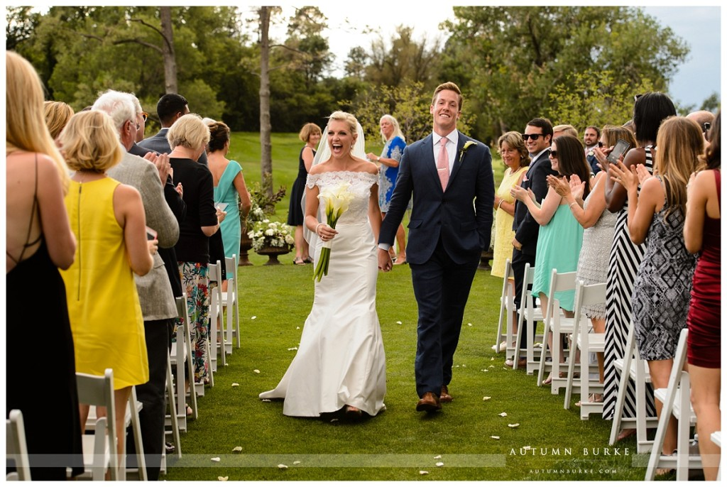 country club wedding ceremony denver colorado cherry creek bride and groom just married