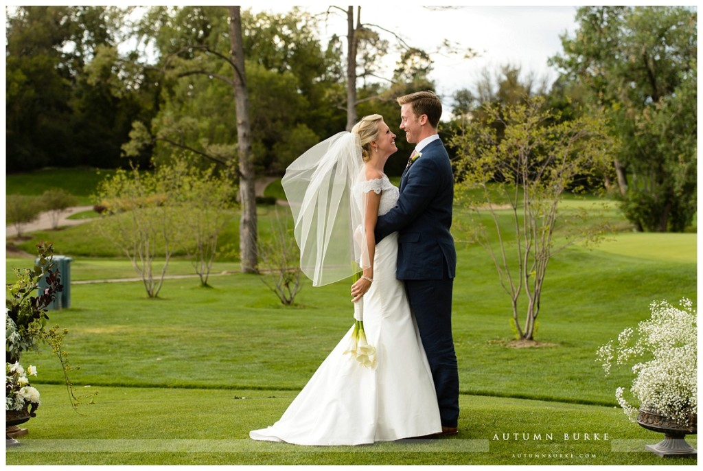 country club golf course denver wedding just married bride and groom